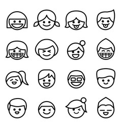 Happy face smile face icon set in thin line style vector