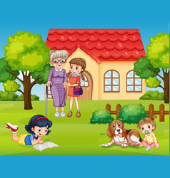 Happy family at front yard vector