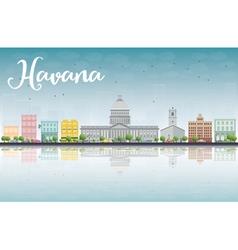 Havana Skyline with Color Building vector