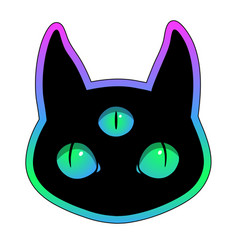 head fantasy black cat with three eyes vector image