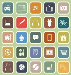 Hobflat icons on green background vector