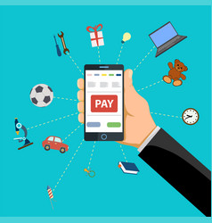 human hand holds smart phone with pay button vector image