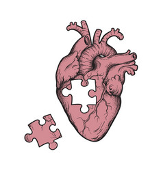 human heart with missing puzzle piece hand drawn vector image