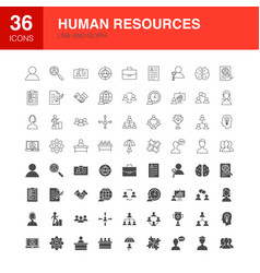 human resources line web glyph icons vector image