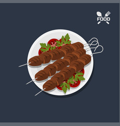 Icon of kebab with tomato on a plate top view vector