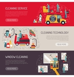 Industrial Cleaning Flat Horizontal Banners Set vector