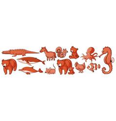 isolated set wild animals vector image