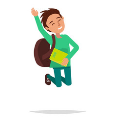 jumping boy with book and backpack vector image