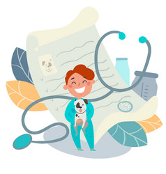 kids profession pet doctor veterinarian vector image