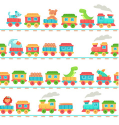 Kids toy train pattern children railroad toys vector