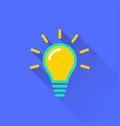 Lamp icon with long shadow vector