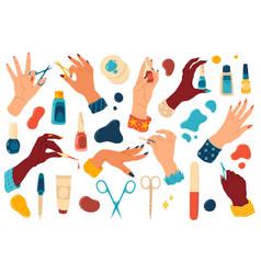 Manicure hands cartoon nail bar accessories vector