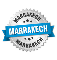 Marrakech round silver badge with blue ribbon vector