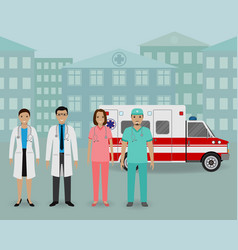 medical team group of doctors and nurses standing vector image