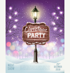 merry christmas party flyer background with vector image