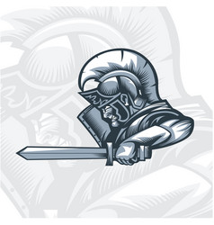 monochrome romans knight attacking vector image