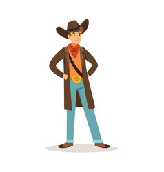 north american cowboy western cartoon character vector image