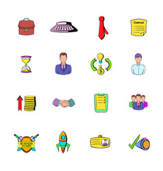 Office and business icons set cartoon vector