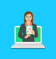Online business school female coach concept vector