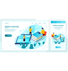 online school learning process browser set vector image