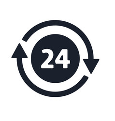 Open around clock 24 hours a day icon vector