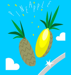 Poster with chopped pineapple vector