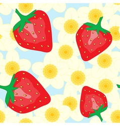red strawberry and flower vector image vector image