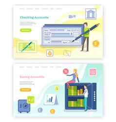 saving accounts and checking bills websites set vector image
