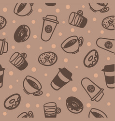 Seamless background with a pattern of a cups of vector
