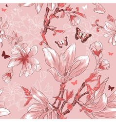 Seamless Pink Floral Pattern with Butterflies vector image