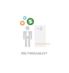 Senior man business person retirement concept flat vector