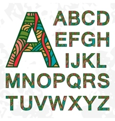 Set of doodle letters with abstract pattern on vector
