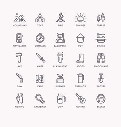 set of icons and symbols for camping and hiking vector image