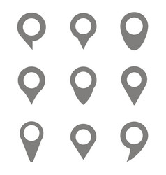 set of monochrome icons with navigation pins vector image