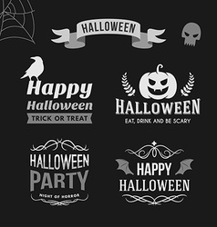 Set of Retro Vintage Halloween Badges Black and vector