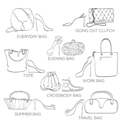 Set of women bags ans shoes vector