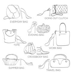 Set of women bags ans shoes vector