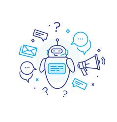 Social media post robot virtual communication vector
