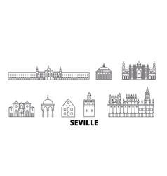 Spain seville line travel skyline set spain vector