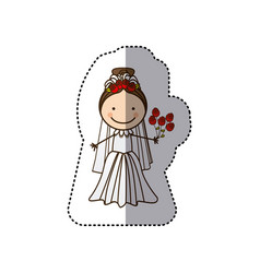 sticker colorful caricature woman with costume vector image