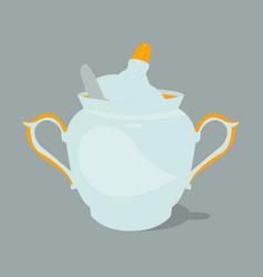 Sugar bowl with spoon vector