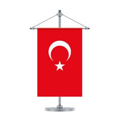 Turkish flag on cross metallic pole vector