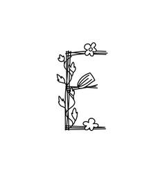 Vintage floral bold letter e logo spring classic vector