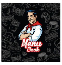 Vintage food menu design with chef character vector
