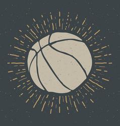 Vintage label hand drawn basketball ball sketch vector