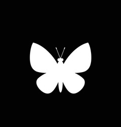 white silhouette of butterfly isolated on black vector image