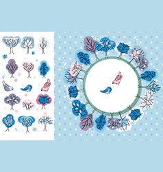 Winter greeting card trees and birds round frame vector
