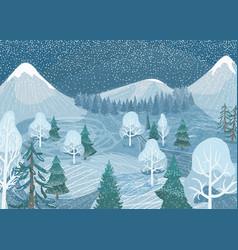 Winter landscape background nature vector