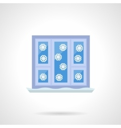 Winter window flat color icon vector image