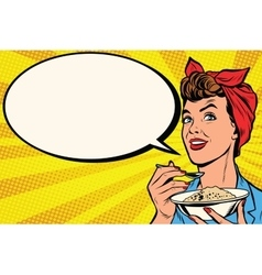 Woman with bowl of delicious cereal vector image